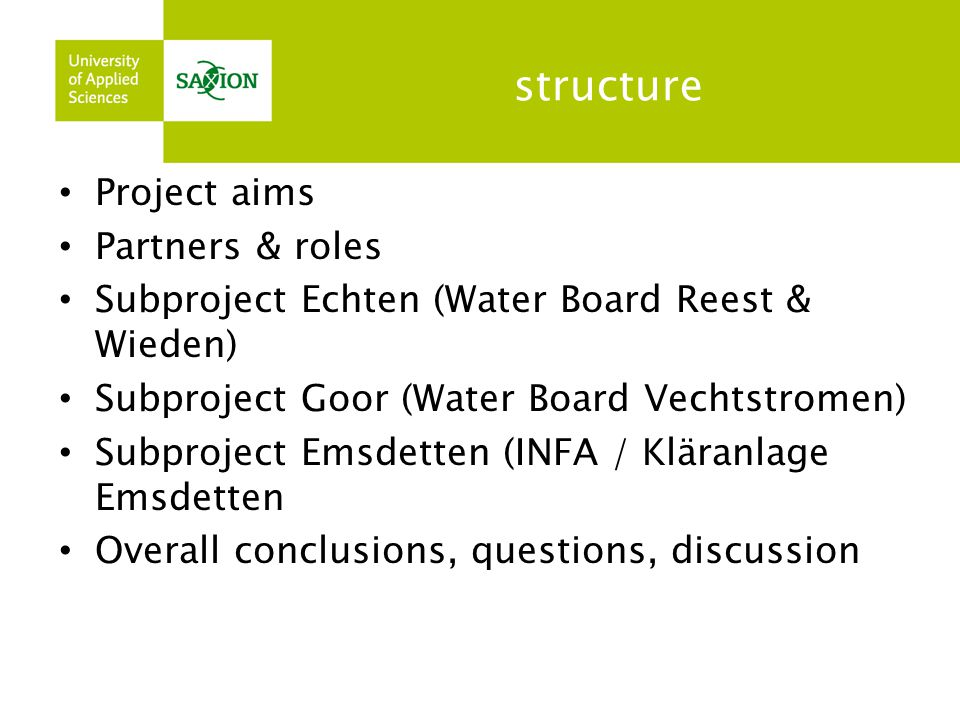 structure Project aims Partners & roles
