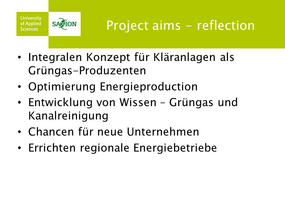 Project aims - reflection