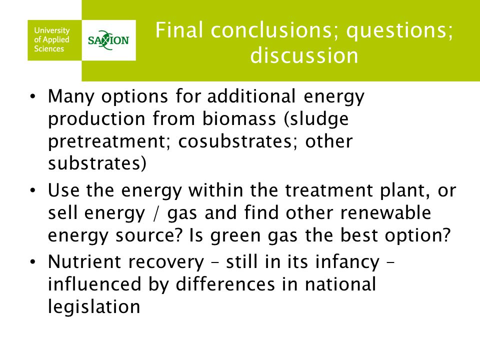 Final conclusions; questions; discussion