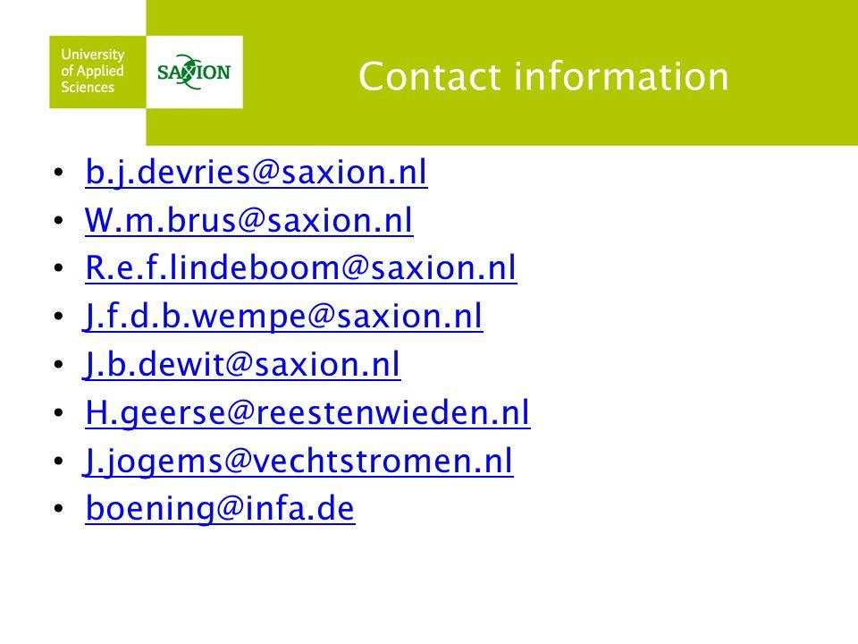 Contact information b.j.devries@saxion.nl. W.m.brus@saxion.nl. R.e.f.lindeboom@saxion.nl. J.f.d.b.wempe@saxion.nl.