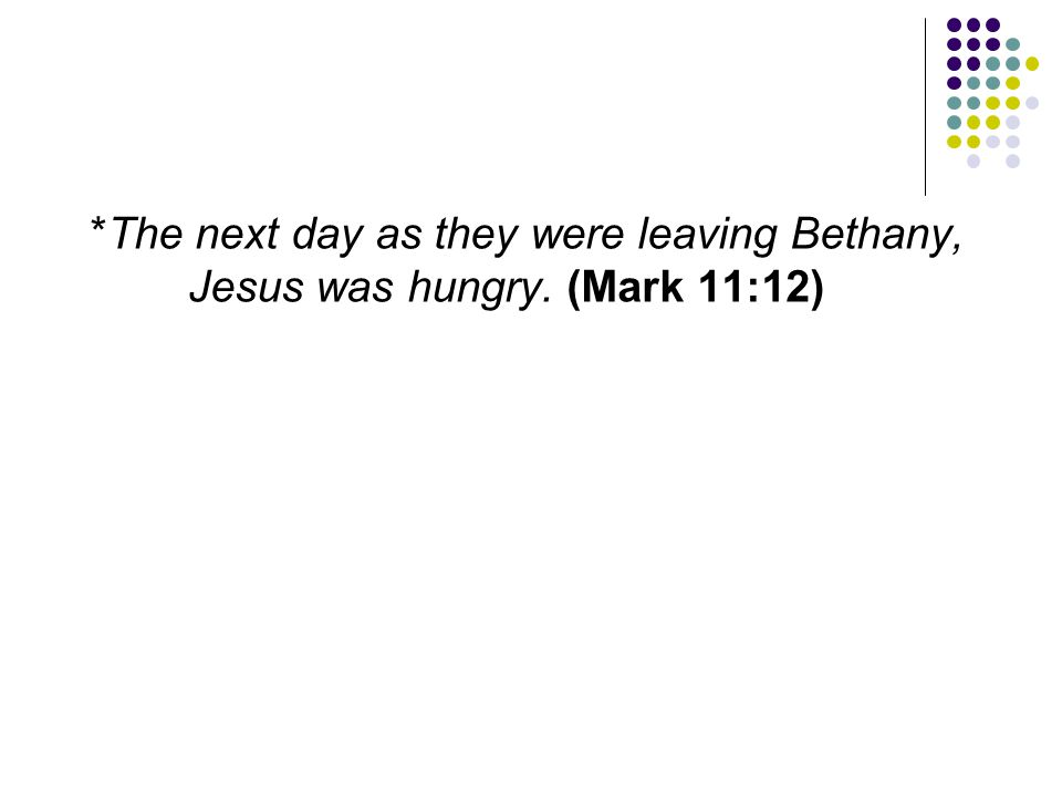 The next day as they were leaving Bethany, Jesus was hungry