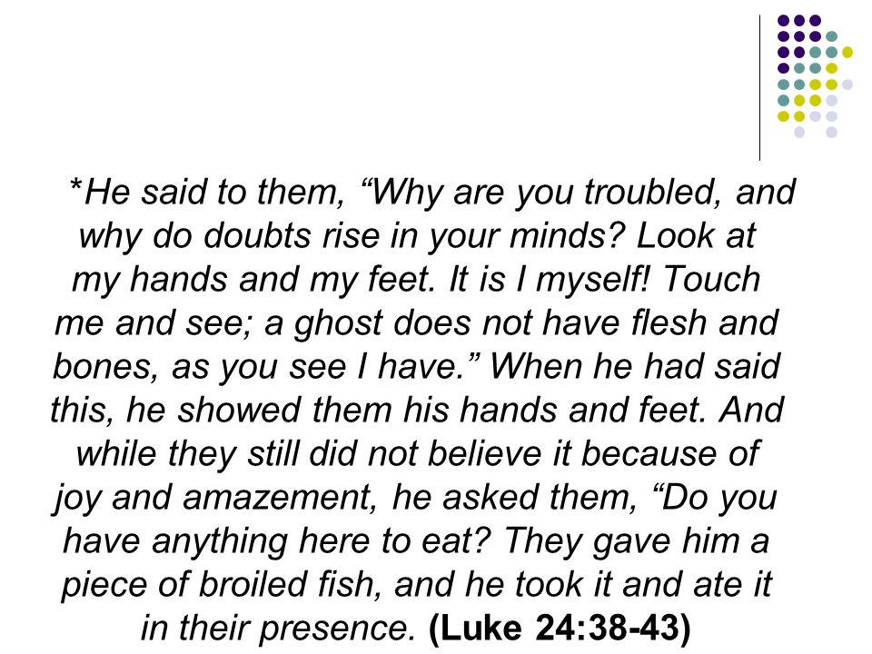 *He said to them, Why are you troubled, and why do doubts rise in your minds.