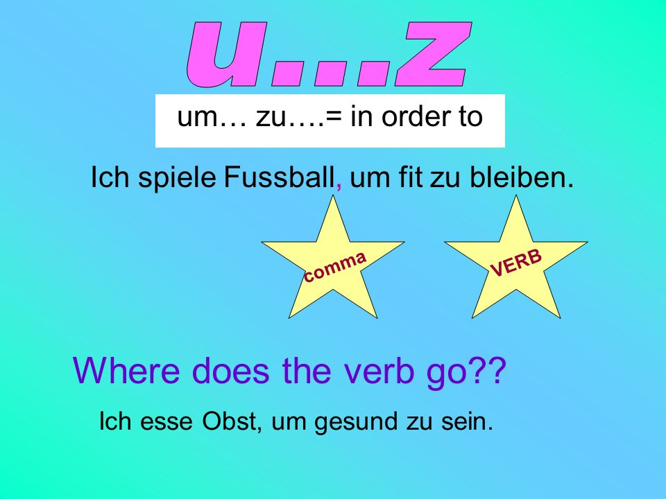 u...z Where does the verb go um… zu….= in order to