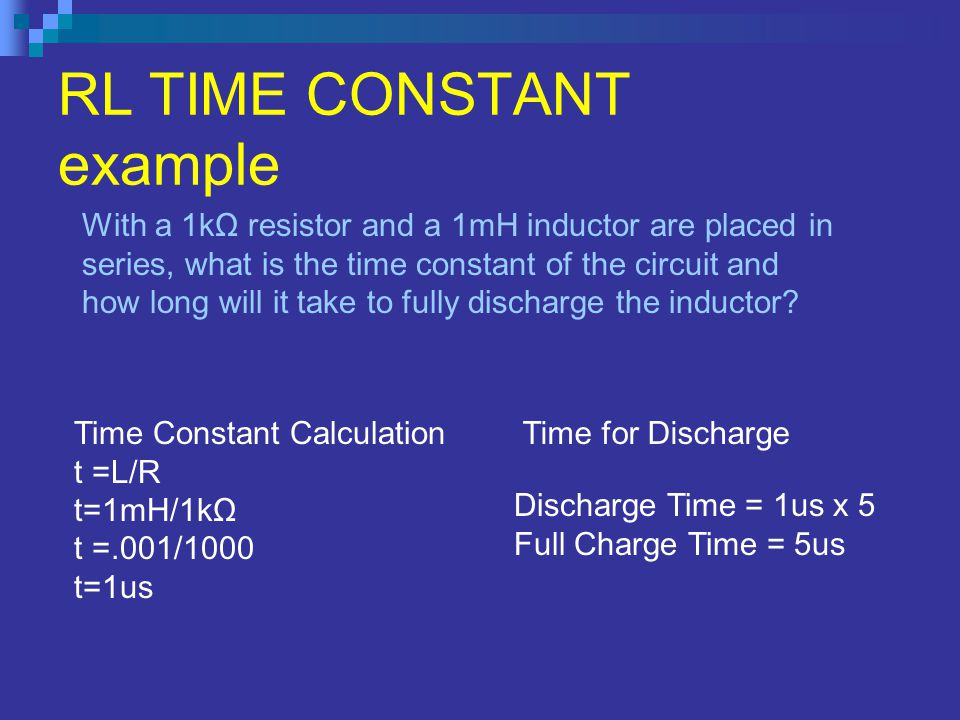 RL TIME CONSTANT example
