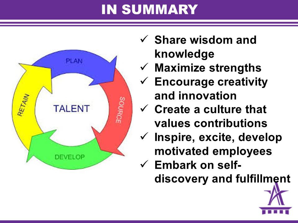 IN SUMMARY Share wisdom and knowledge Maximize strengths