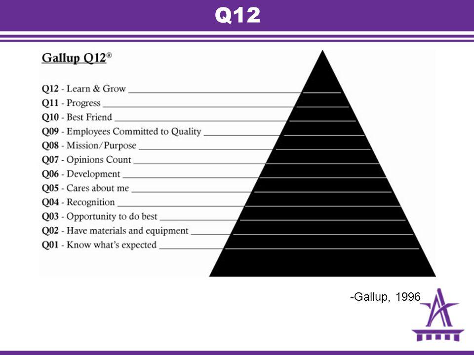 Q12 -Gallup, 1996 Foundation Academy ‐ Facilitators Guide