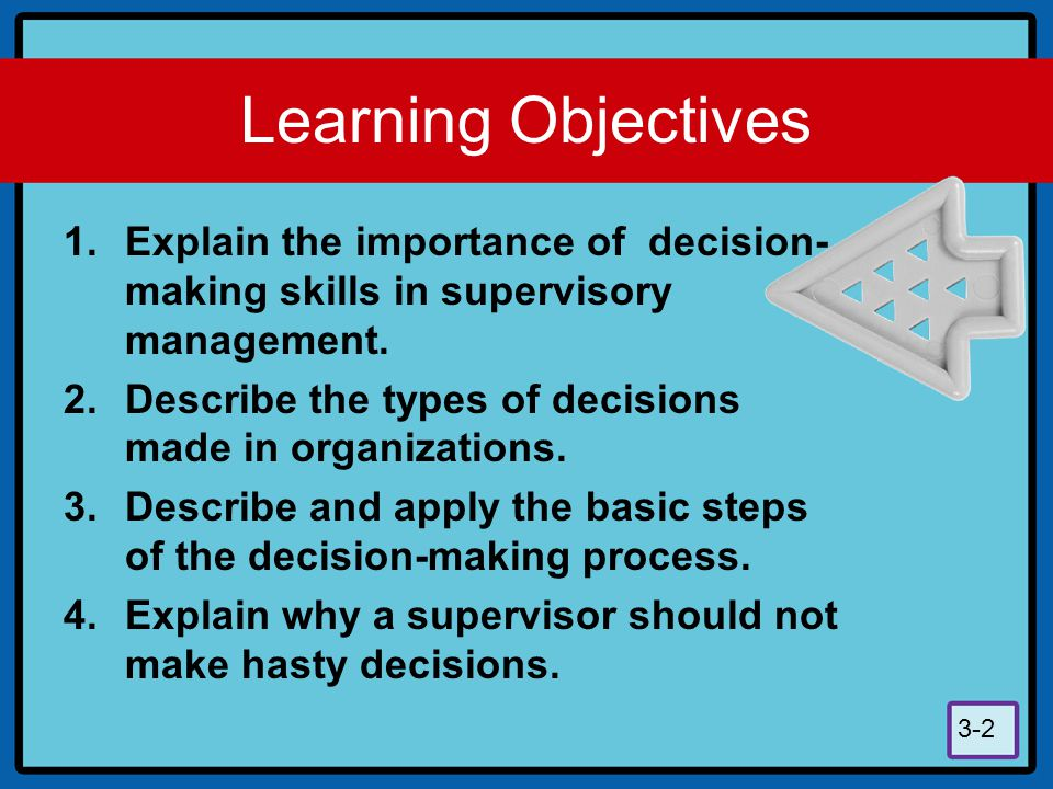 Learning Objectives Explain the importance of decision-making skills in supervisory management.