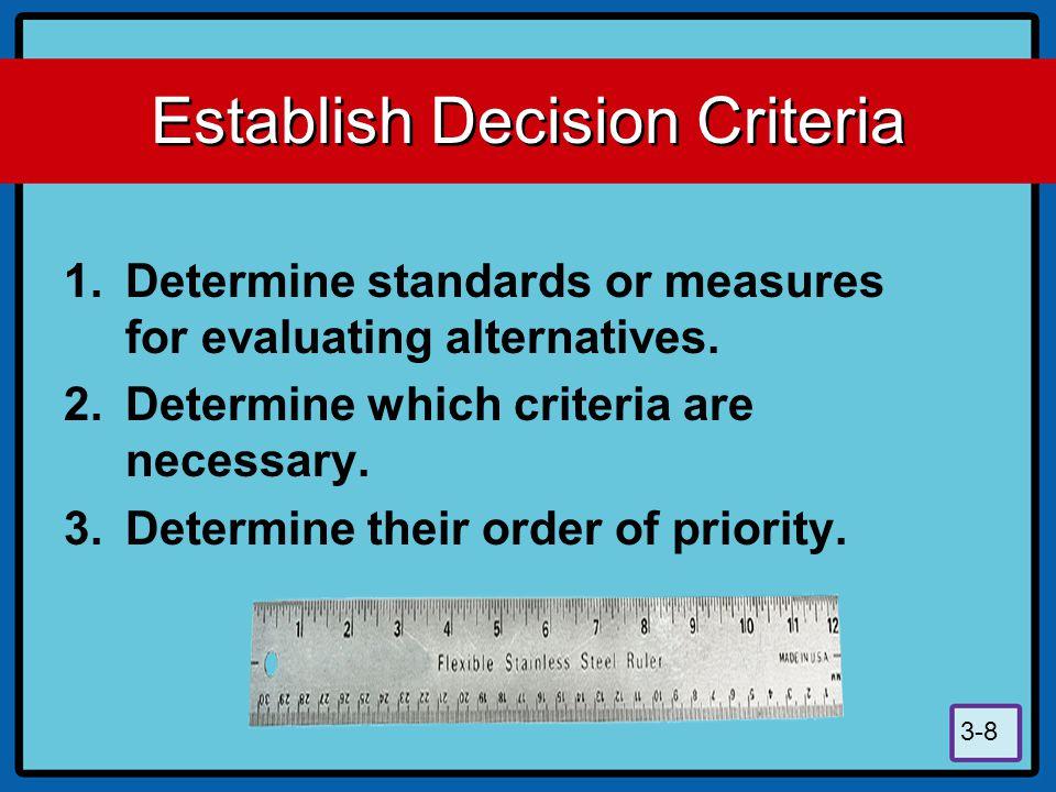 Establish Decision Criteria