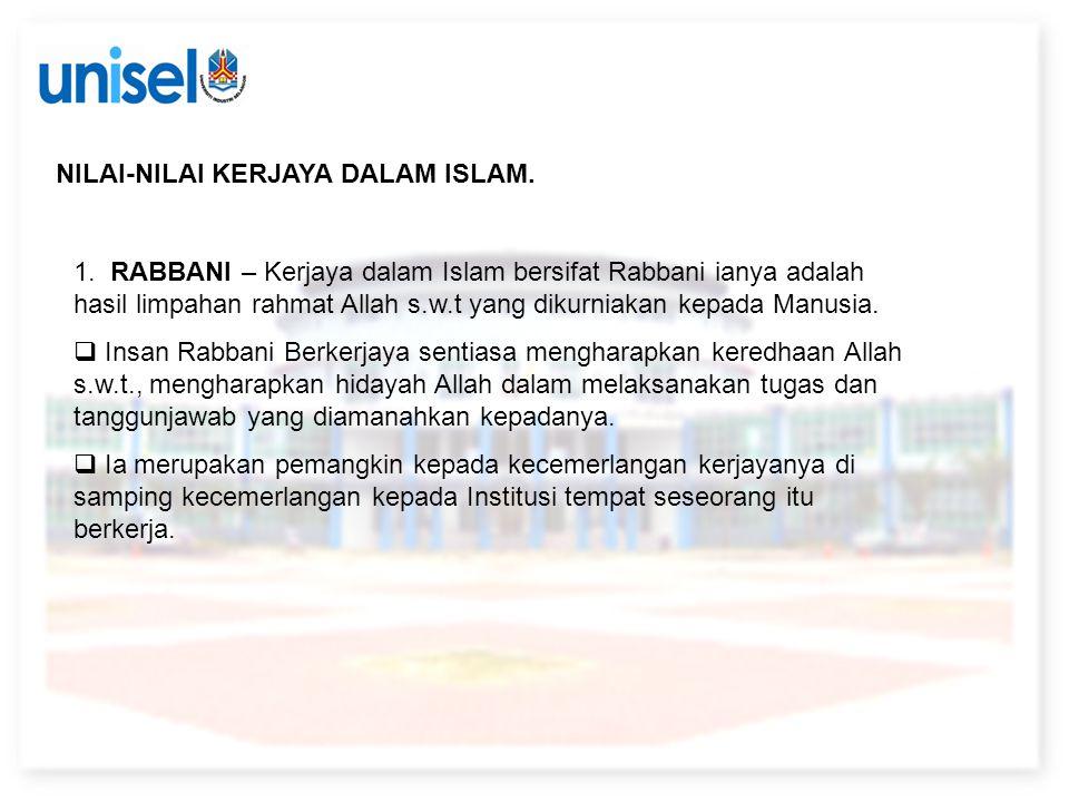 NILAI-NILAI KERJAYA DALAM ISLAM.