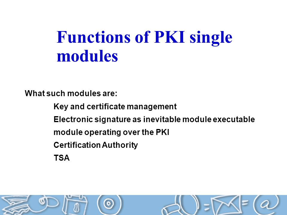 Functions of PKI single modules