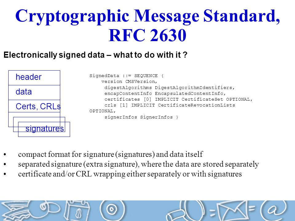 Cryptographic Message Standard, RFC 2630