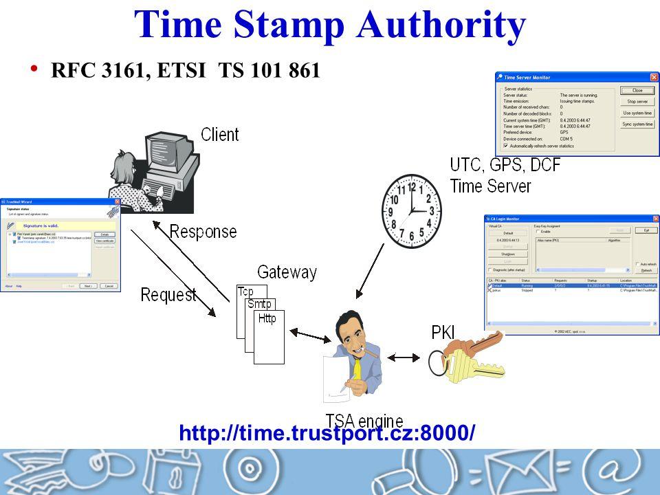 Time Stamp Authority RFC 3161, ETSI TS 101 861