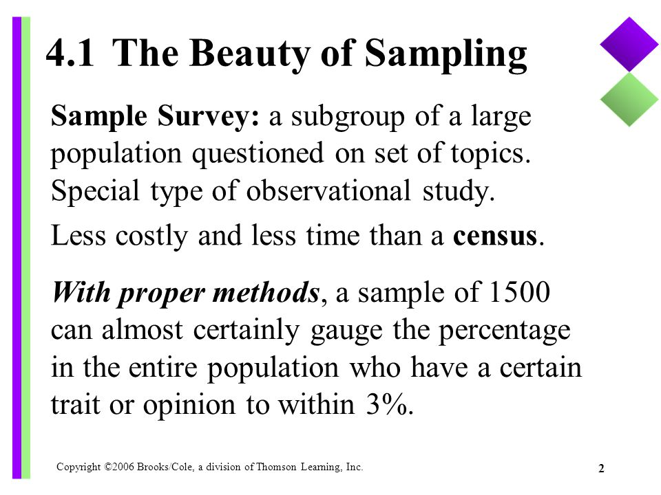 4.1 The Beauty of Sampling Sample Survey: a subgroup of a large population questioned on set of topics. Special type of observational study.