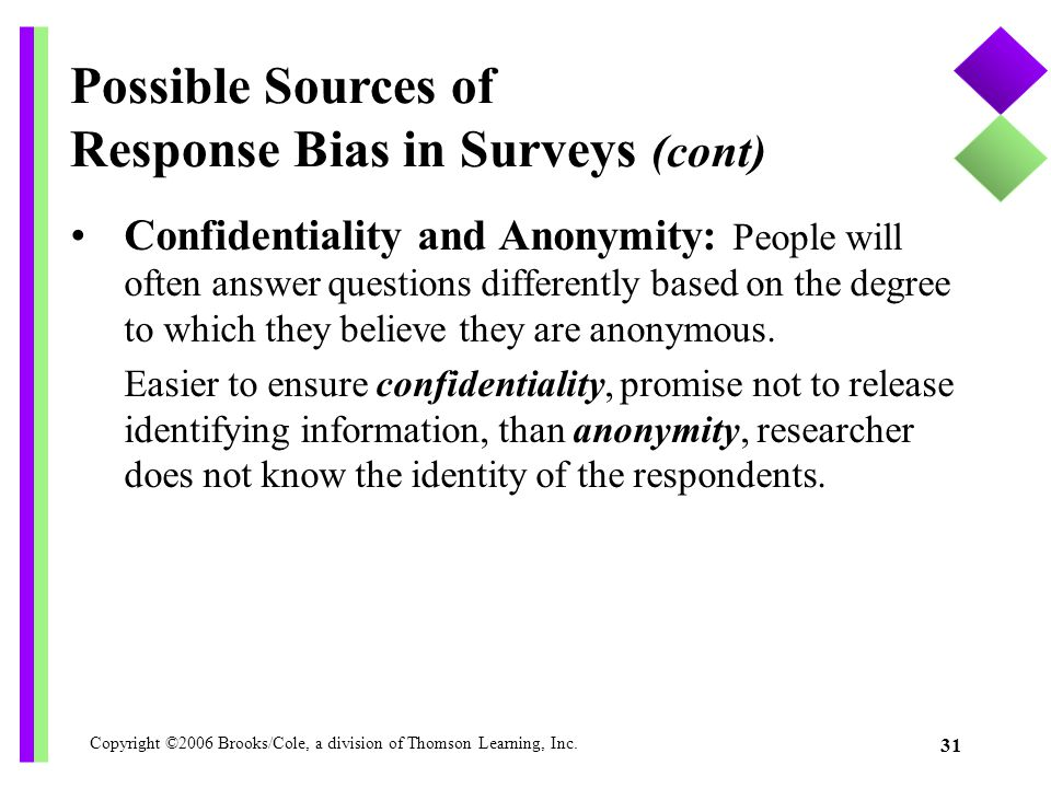 Possible Sources of Response Bias in Surveys (cont)