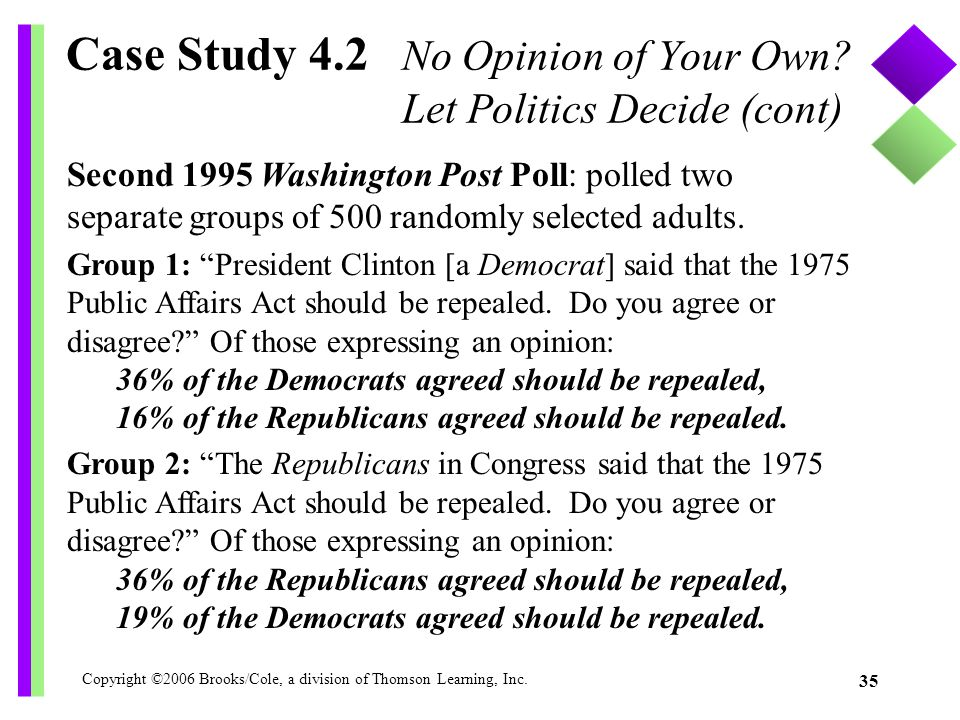 Case Study 4.2 No Opinion of Your Own Let Politics Decide (cont)