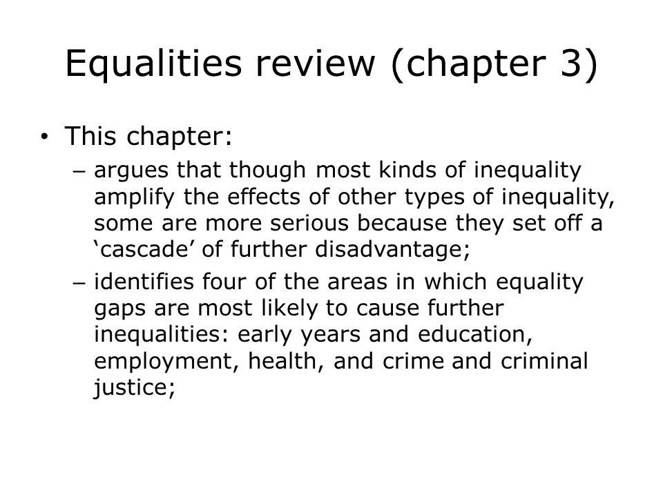 Equalities review (chapter 3)