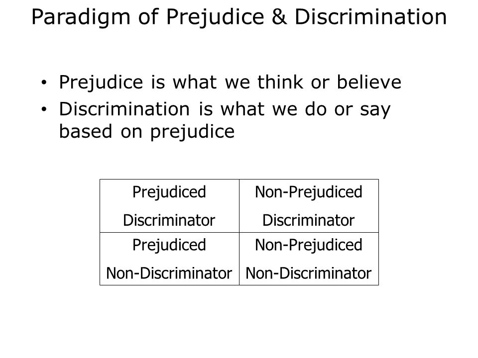 Paradigm of Prejudice & Discrimination