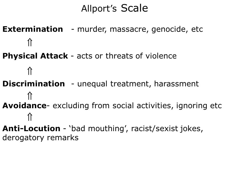 Allport's Scale Extermination - murder, massacre, genocide, etc.  Physical Attack - acts or threats of violence.