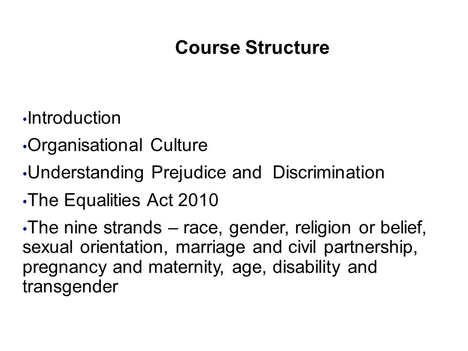 Course Structure Organisational Culture