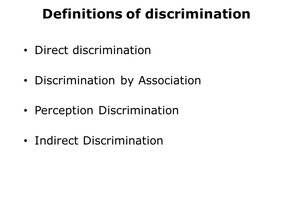 Definitions of discrimination