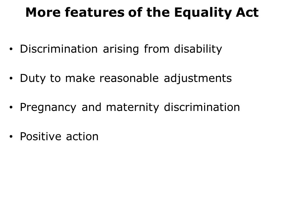 More features of the Equality Act