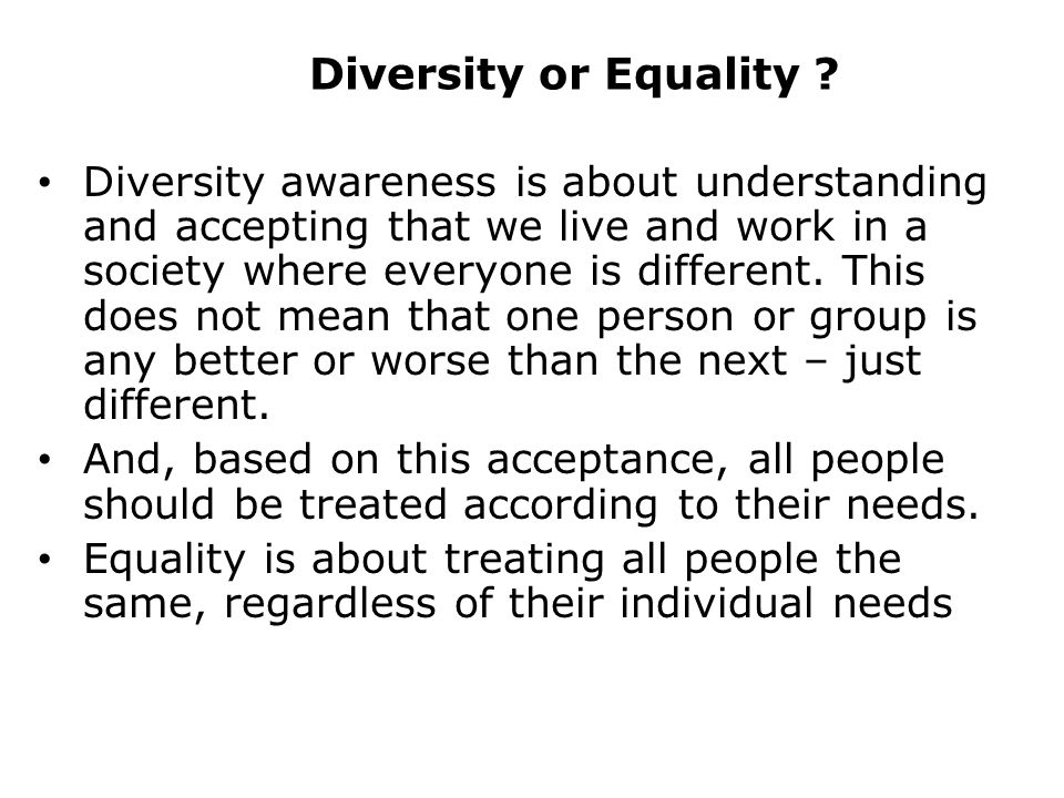 Diversity or Equality