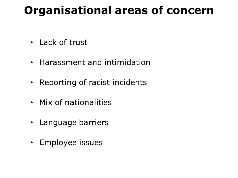 Organisational areas of concern