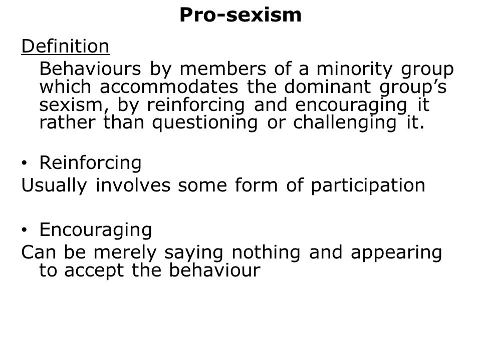 Pro-sexism Definition