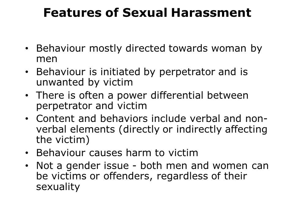 Features of Sexual Harassment