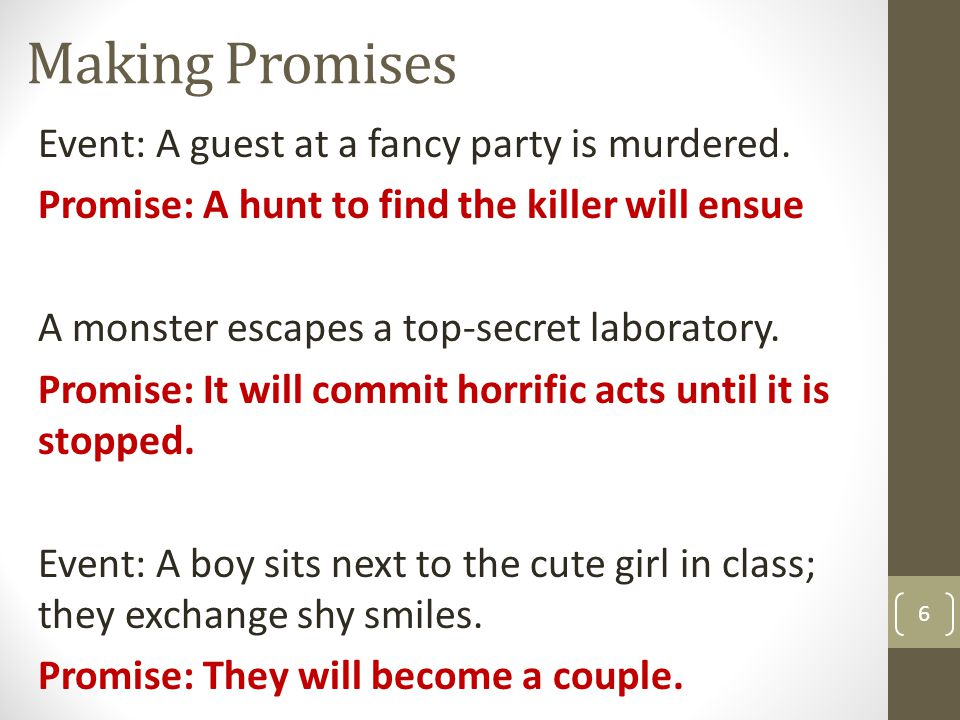 Making Promises Event: A guest at a fancy party is murdered.