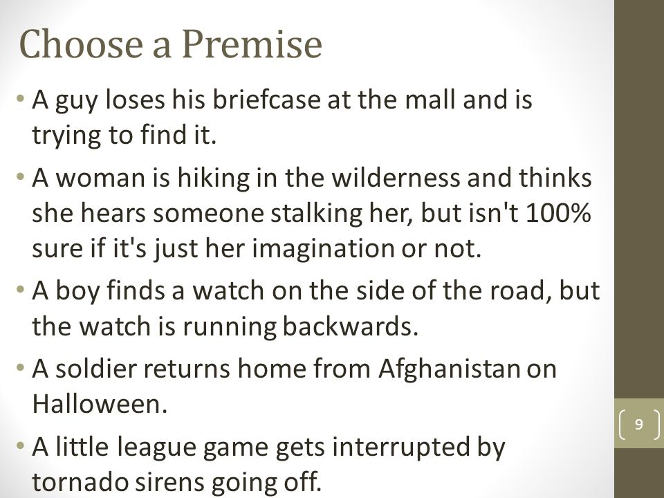 Choose a Premise A guy loses his briefcase at the mall and is trying to find it.