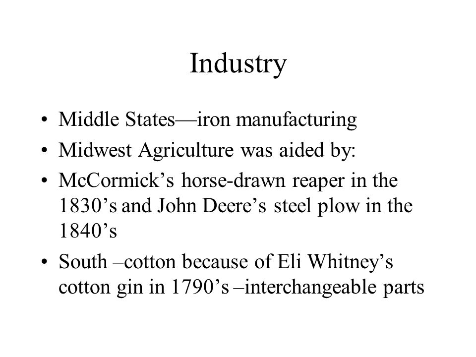Industry Middle States—iron manufacturing