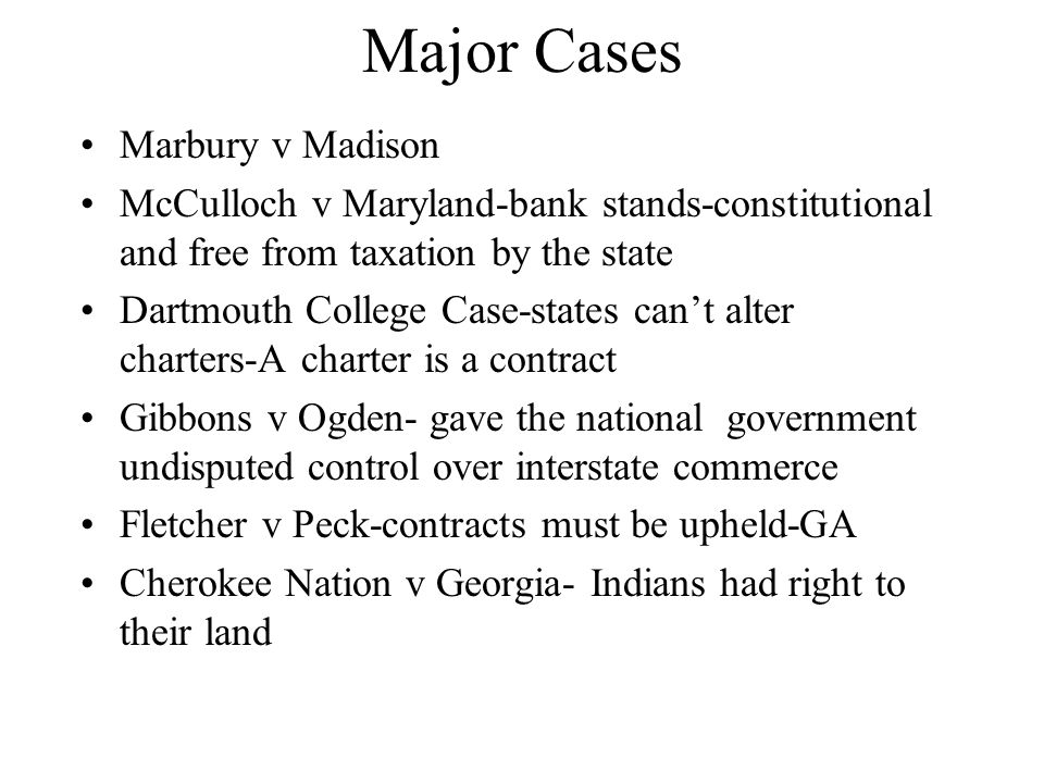 Major Cases Marbury v Madison