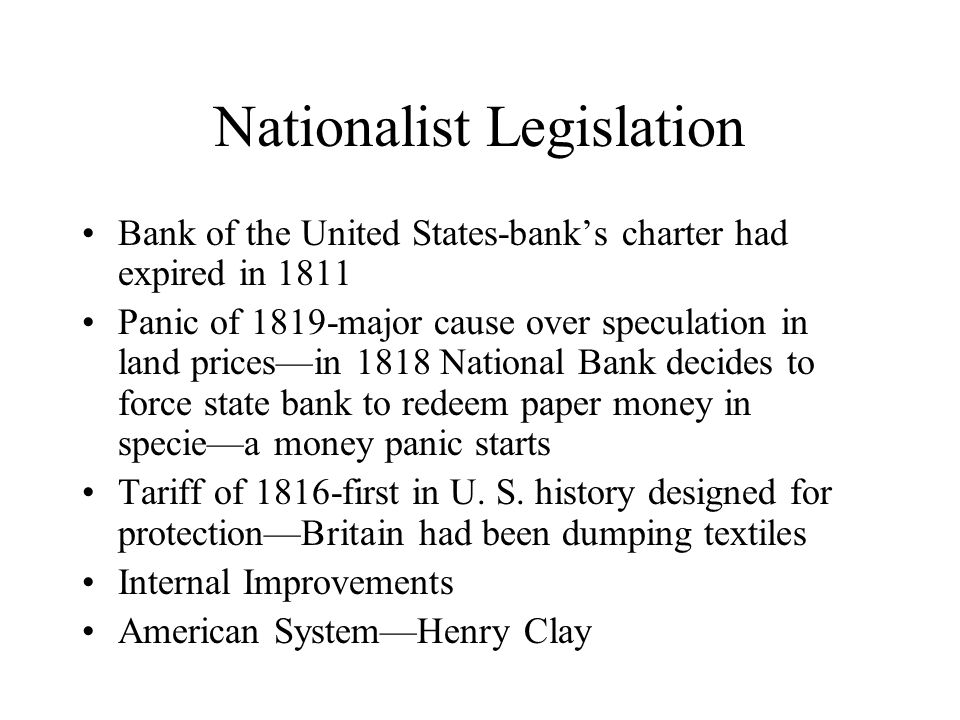 Nationalist Legislation