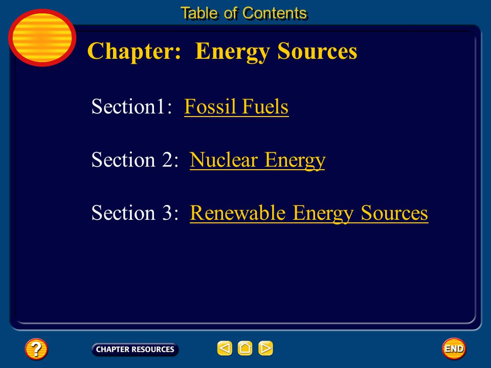 Chapter: Energy Sources