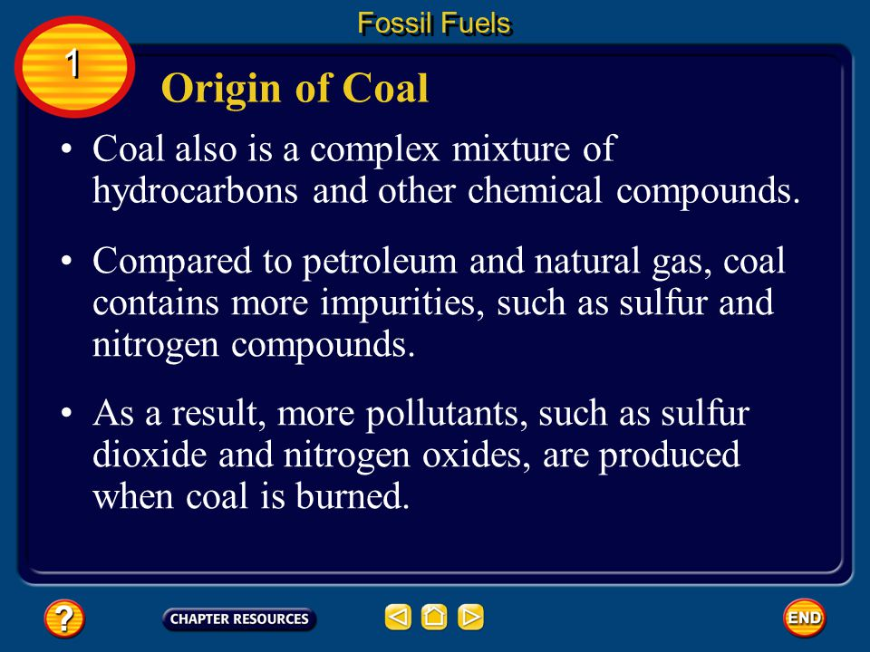 Fossil Fuels 1. Origin of Coal. Coal also is a complex mixture of hydrocarbons and other chemical compounds.