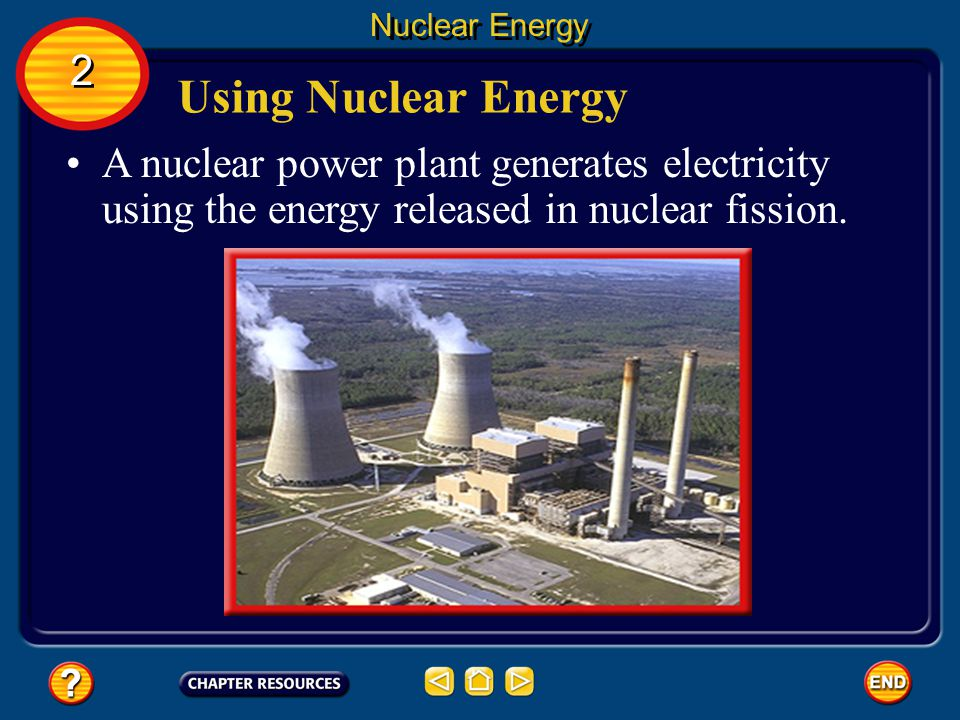 Nuclear Energy 2. Using Nuclear Energy. A nuclear power plant generates electricity using the energy released in nuclear fission.