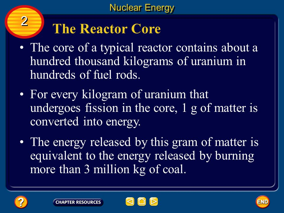Nuclear Energy 2. The Reactor Core. The core of a typical reactor contains about a hundred thousand kilograms of uranium in hundreds of fuel rods.