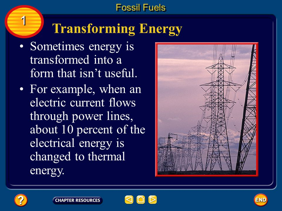 Fossil Fuels 1. Transforming Energy. Sometimes energy is transformed into a form that isn't useful.