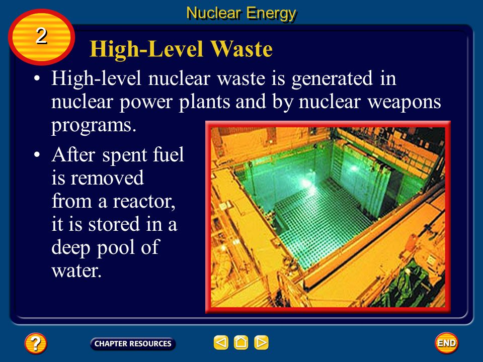 Nuclear Energy 2. High-Level Waste. High-level nuclear waste is generated in nuclear power plants and by nuclear weapons programs.