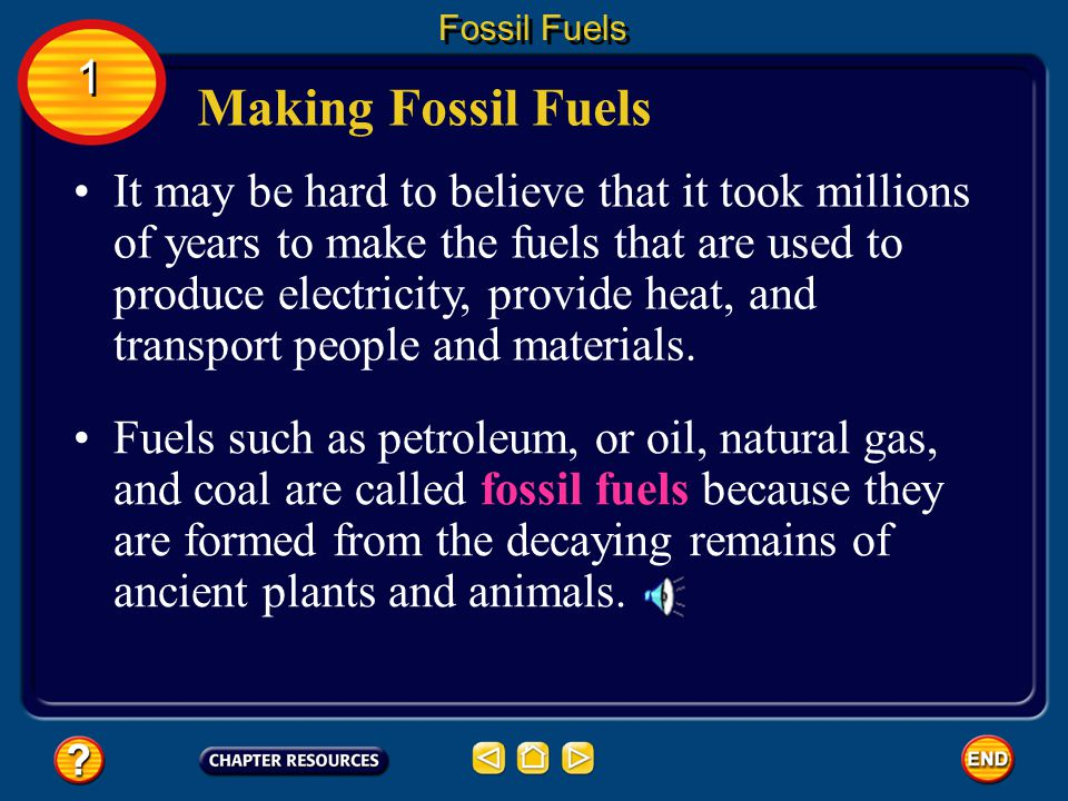 Fossil Fuels 1. Making Fossil Fuels.