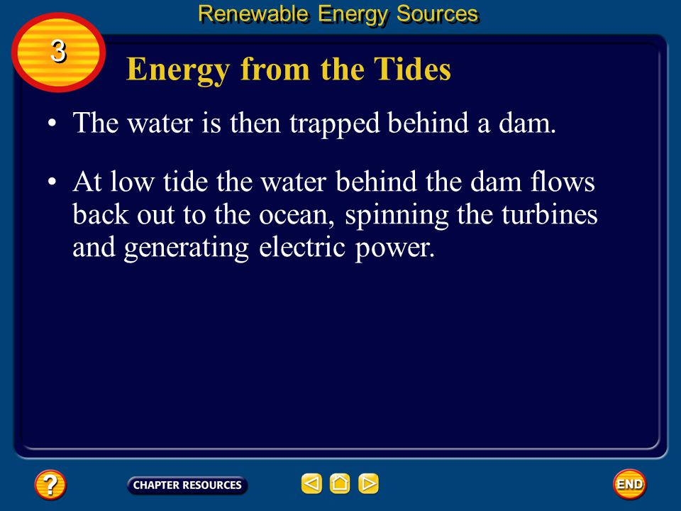Energy from the Tides 3 The water is then trapped behind a dam.