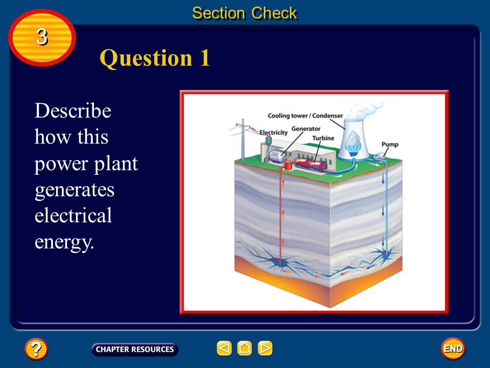 Section Check 3. Question 1. Describe how this power plant generates electrical energy.