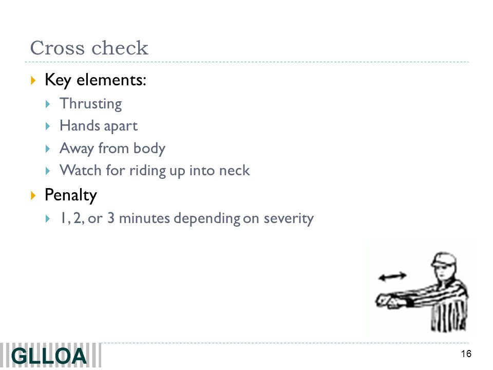 Cross check Key elements: Penalty Thrusting Hands apart Away from body