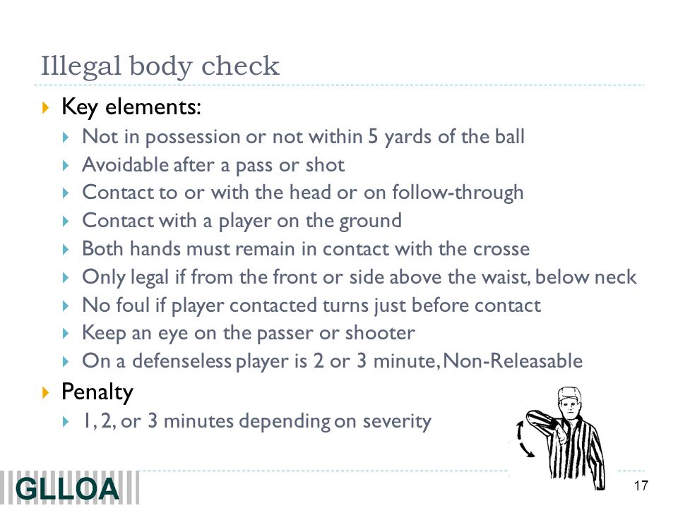 Illegal body check Key elements: Penalty