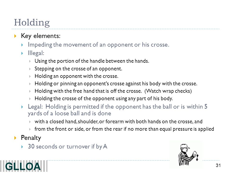 Holding Key elements: Penalty