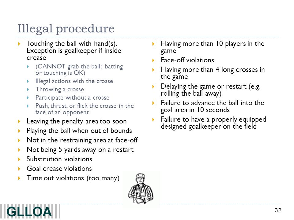 Illegal procedure Touching the ball with hand(s). Exception is goalkeeper if inside crease.