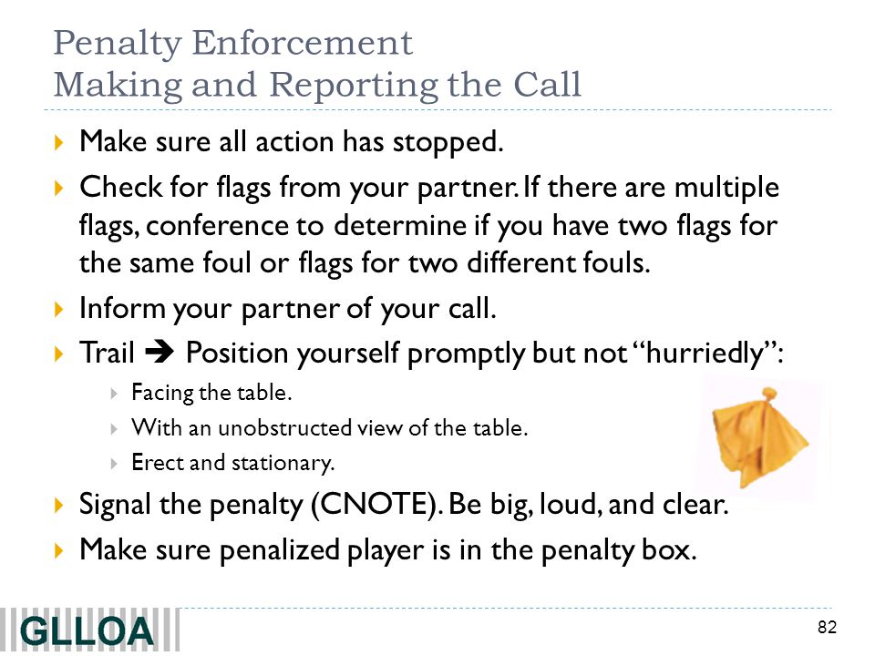 Penalty Enforcement Making and Reporting the Call