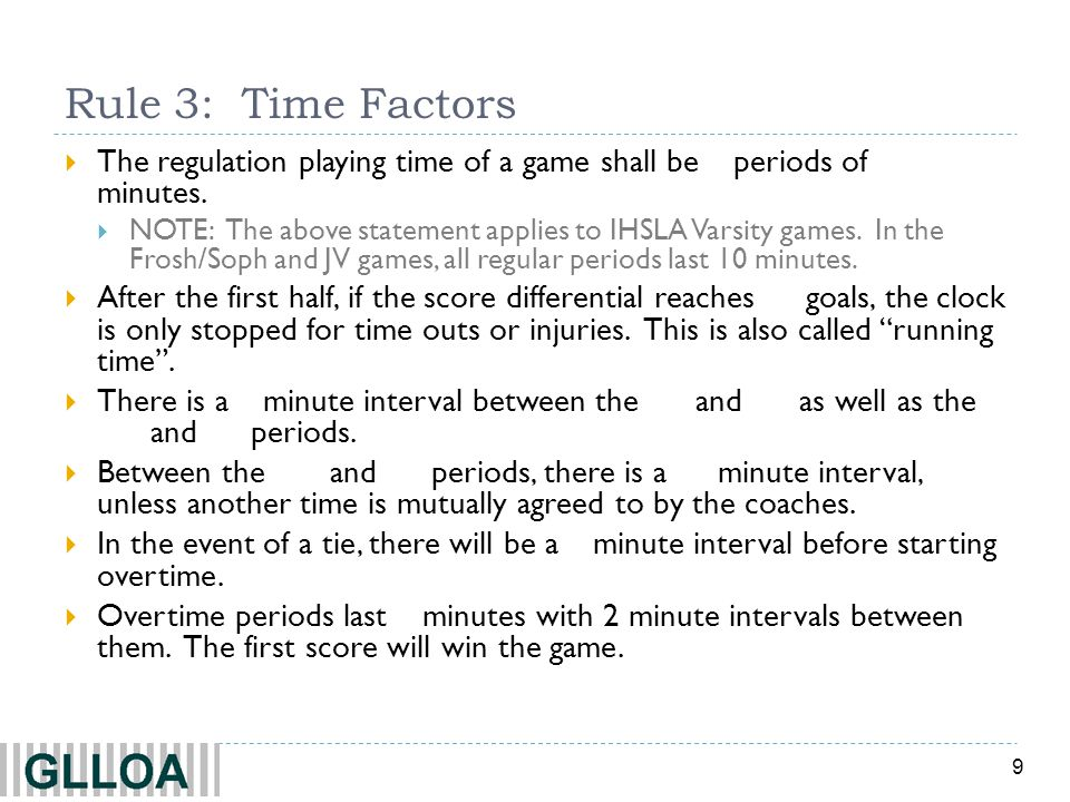Rule 3: Time Factors The regulation playing time of a game shall be 4 periods of 12 minutes.