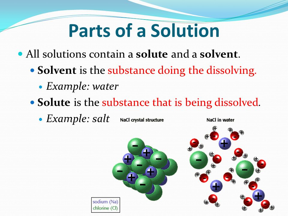 Parts of a Solution All solutions contain a solute and a solvent.